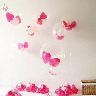 "100pcs 10"" Transparent Latex Balloons Birthday Wedding Party Decor"