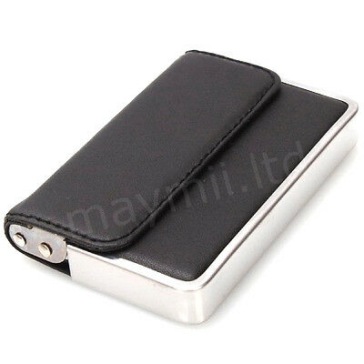 Mens Black Top Grade Stylish Leather Wallet and Stainless Steel Business Card