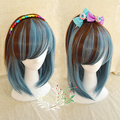 Lolita Short Bob Wig Straight Anime Wig Cosplay Party Brown Blue Ombre Wig