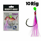 10 Snapper Rigs Circle Hooks Bulk Pack Fly Flasher 5/0 Pink Reef Fishing Rig