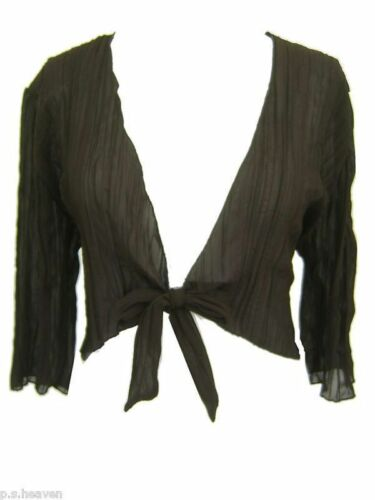 New Brown Chiffon Crinkle Shrug Size 16,18,20,22,24,26 Cropped Tie Knot Top LICK