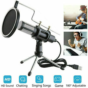 Condenser-USB-Microphone-w-Tripod-Stand-for-Game-Chat-Studio-Recording-Computer