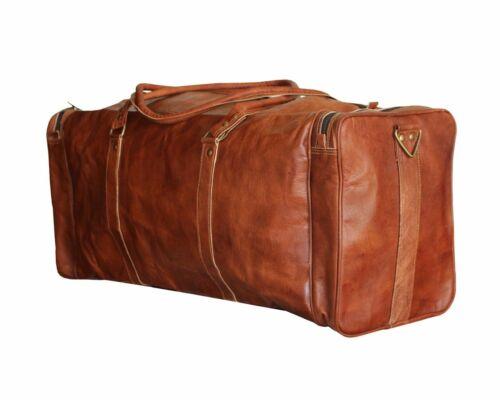 Men Brown Vintage Genuine Travel Luggage Duffel Gym Bags Tote Goat Leather