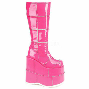 Platform Goth Stack Demonia Vegan Punk Hell Ladies Pink Cyber Wedge Boots 301 7wwqFY8