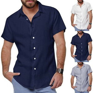 Mens-Cotton-Linen-Shirts-Casual-Short-Tops-Plain-Office-Work-Down-Button-Sleeve