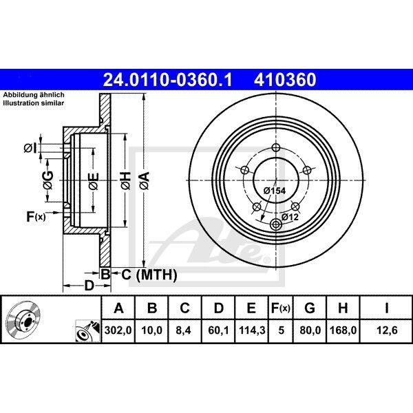 ORIGINAL ATE Bremsscheiben Satz hinten Citroen C4 Aircross ua. Bj.12-
