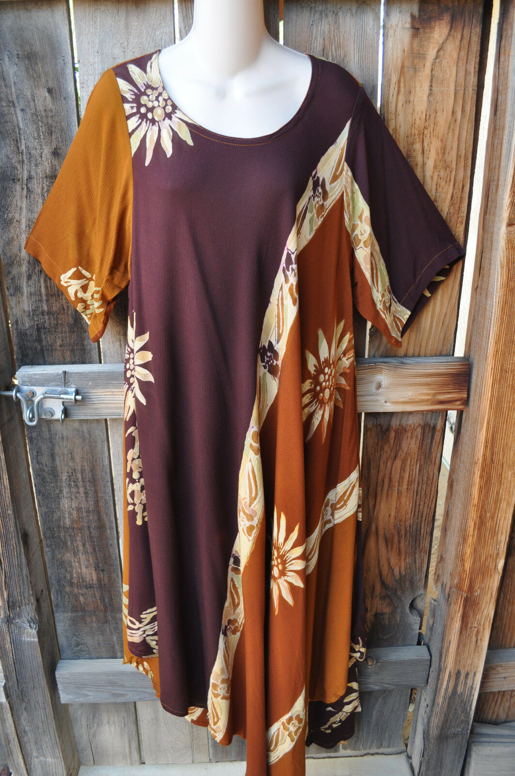 ART TO WEAR LAGENLOOK MADRAS TUNIC DRESS IN COPPER CANYON BY MISSION CANYON, 50B