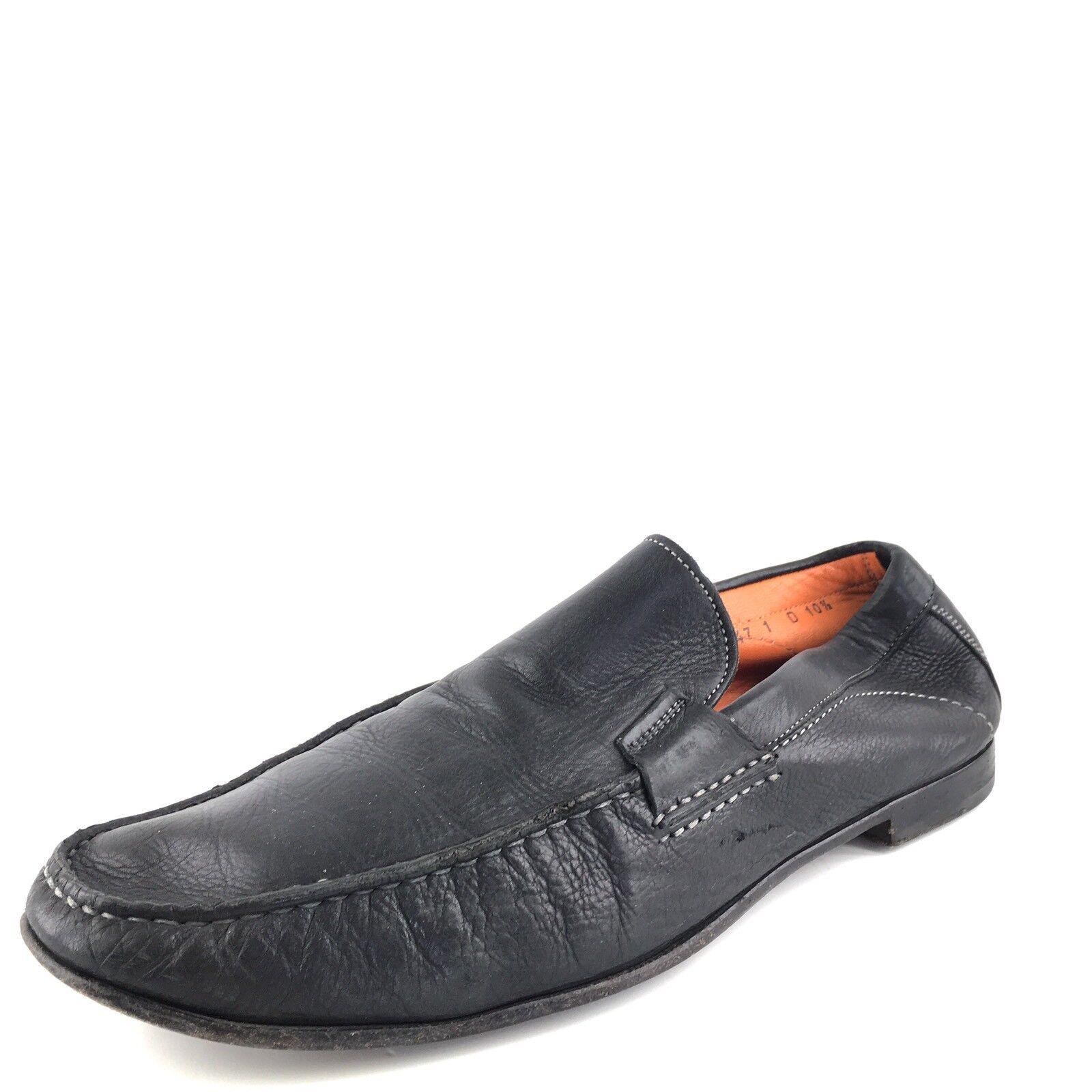 100% di contro garanzia genuina Santoni Lazzaro Lazzaro Lazzaro nero Leather Formal Slip On Loafers Uomo Dimensione 10.5 M  555  acquista la qualità autentica al 100%