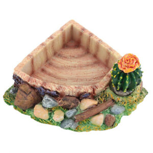 Reptile Pet Tortoise Lizard Feeding Water Bowl Plate With Cactus Home