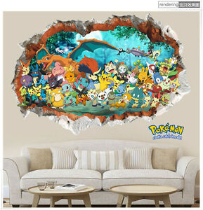 3d Smash Wand Pokémon Aufkleber Kinder Zimmer Deko Wandtattoo