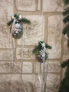 Fensterdeko-Winter-Nr-27-Glaszapfen-11-cm-antiksilber-Pinie-Fensterhaenger