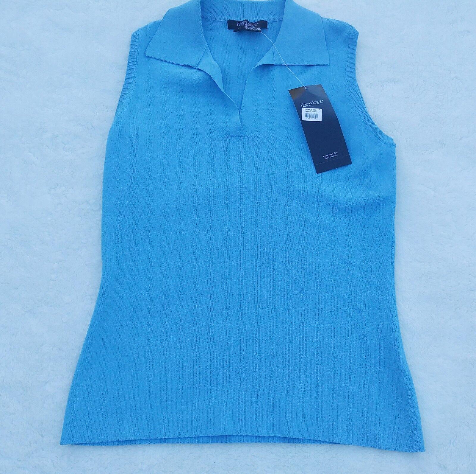 Karen Kane Lifestyle Sleevless knit baby bluee Polo Top NWT  78 SZ Small