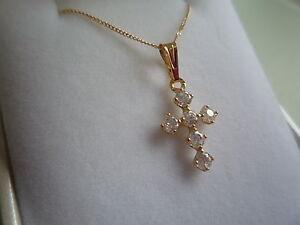 new-9ct-yellow-gold-chain-18inch-with-cross-stone-zircon-4mm-pendant