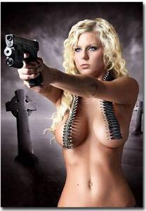 Sexy Hot Blonde Girl With Gun Refrigerator Magnets Size 2 5 X 3 5 Ebay