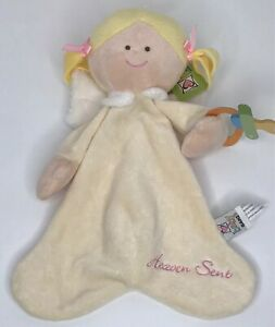 Baby-Ganz-Heaven-Sent-Angel-Pacifier-Cozy-Blanket-Plush-Lovey-Ivory-Blond-Girl