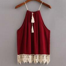 Women Lace Trimmed Tasselled Drawstring Blouse Tank Crop Tops T shirt S