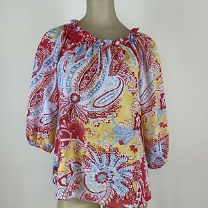 Chaps-Ralph-Lauren-women-s-pink-blue-paisley-peasant-blouse-size-extra-small