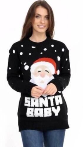 3D Donna a Maglia POM POM Babbo Natale Bambino Novità Natale Maglione Pullover Abito UK S-XXL
