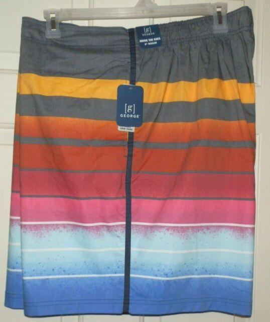 NEW George Men/'s Big /& Tall Striped E-board Swim Board Shorts Trunks 3XL 48-50