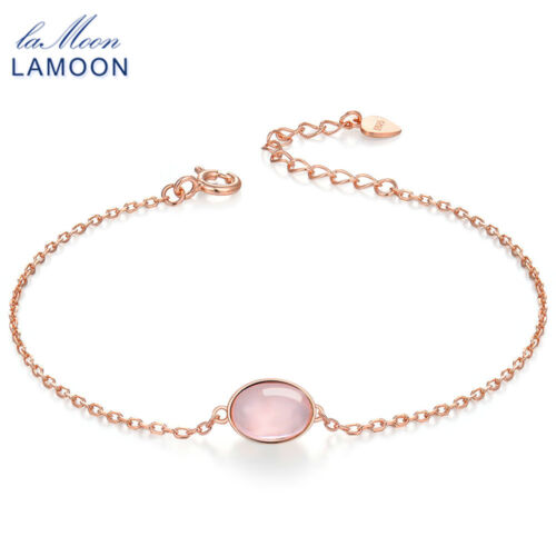 Natural Oval Pink Rose Quartz 925 Silver Charm Bracelet Xmas Gifts For Her Women