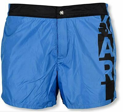 New Karl Lagerfeld Blue Vertical Broadshort Beachware Swim Shorts Mens XL
