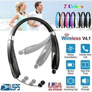 Foldable-Retractable-Wireless-Headset-Headphone-Sport-Neckband-Earbuds-US-Seller