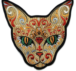 Large Siamese Cat Sugar Skull Quality Embroidered Patch Set Day of The Dead