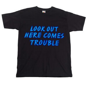 Childrens-Kids-Black-Biker-Slogan-T-shirt-Look-Out-Here-Comes-Trouble-Top