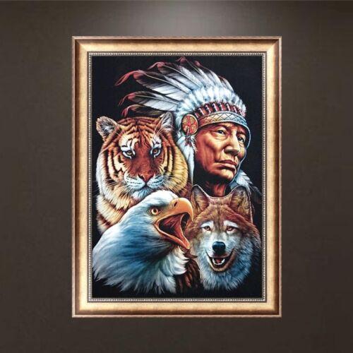 UK DIY 5D Diamond Embroidery Aboriginal Animals Painting Cross Stitch Home Decor