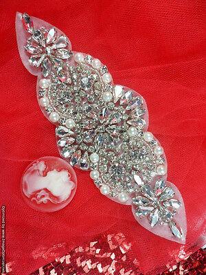 """XR249 Bridal Motif Silver Crystal Clear Rhinestone Applique w/ Pearls 6"""""""