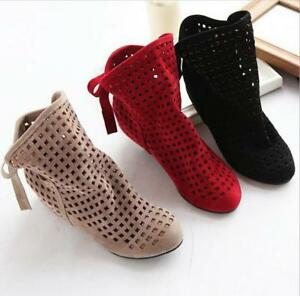 Women-Casual-Hollow-Out-Ankle-Boots-Solid-Color-Round-Toe-Lace-Up-Flat-Shoes-New