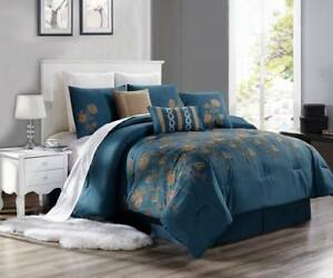 Details about NEW CHIC MODERN EMBROIDERY TAUPE TAN FLOWERS BEDROOM TEAL  BLUE DUVET BRENDA #8