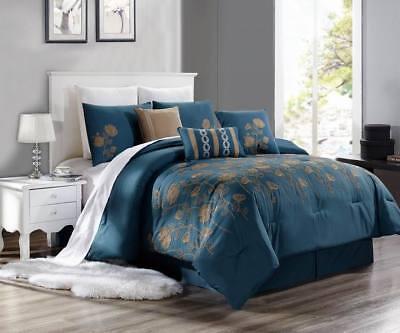 NEW CHIC MODERN EMBROIDERY TAUPE TAN FLOWERS BEDROOM TEAL BLUE DUVET BRENDA  #8 | eBay