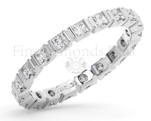 1.10Carat Princess Brilliant Cut Diamonds Full Eternity Ring Available 18K gold
