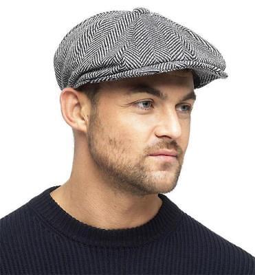 Nouveau 8 Panel Gris chevrons Newsboy Gatsby Baker Boy Cap patraque oeillères 3 m