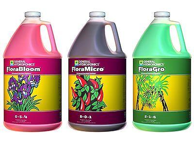 NEW! General Hydroponics (3) Gallons of Flora Series Liquid Plant Growth Formula