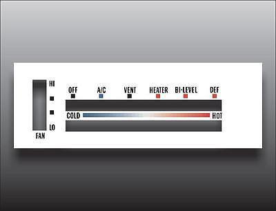 1965 Chevrolet Impala White Heater Control Switch Overlay HVAC
