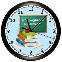 Teacher Wall Clock School Classroom Decor Children Students Apple Books Gift