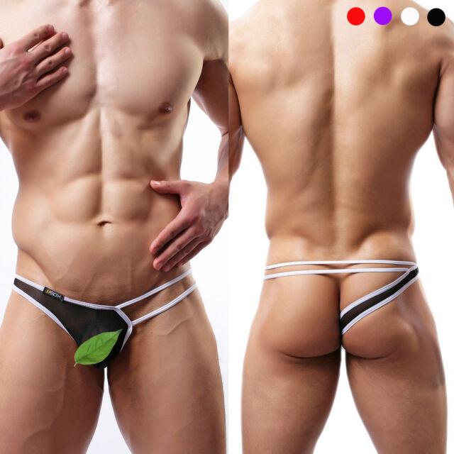 Men's Sexy Strap Brief Lingerie Hollow Jockstrap Underwear Mini Thongs G-string