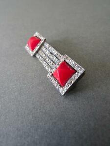 Vintage-Art-Deco-Solid-Silver-Rhinestone-Paste-and-Red-Glass-Brooch-or-Pin