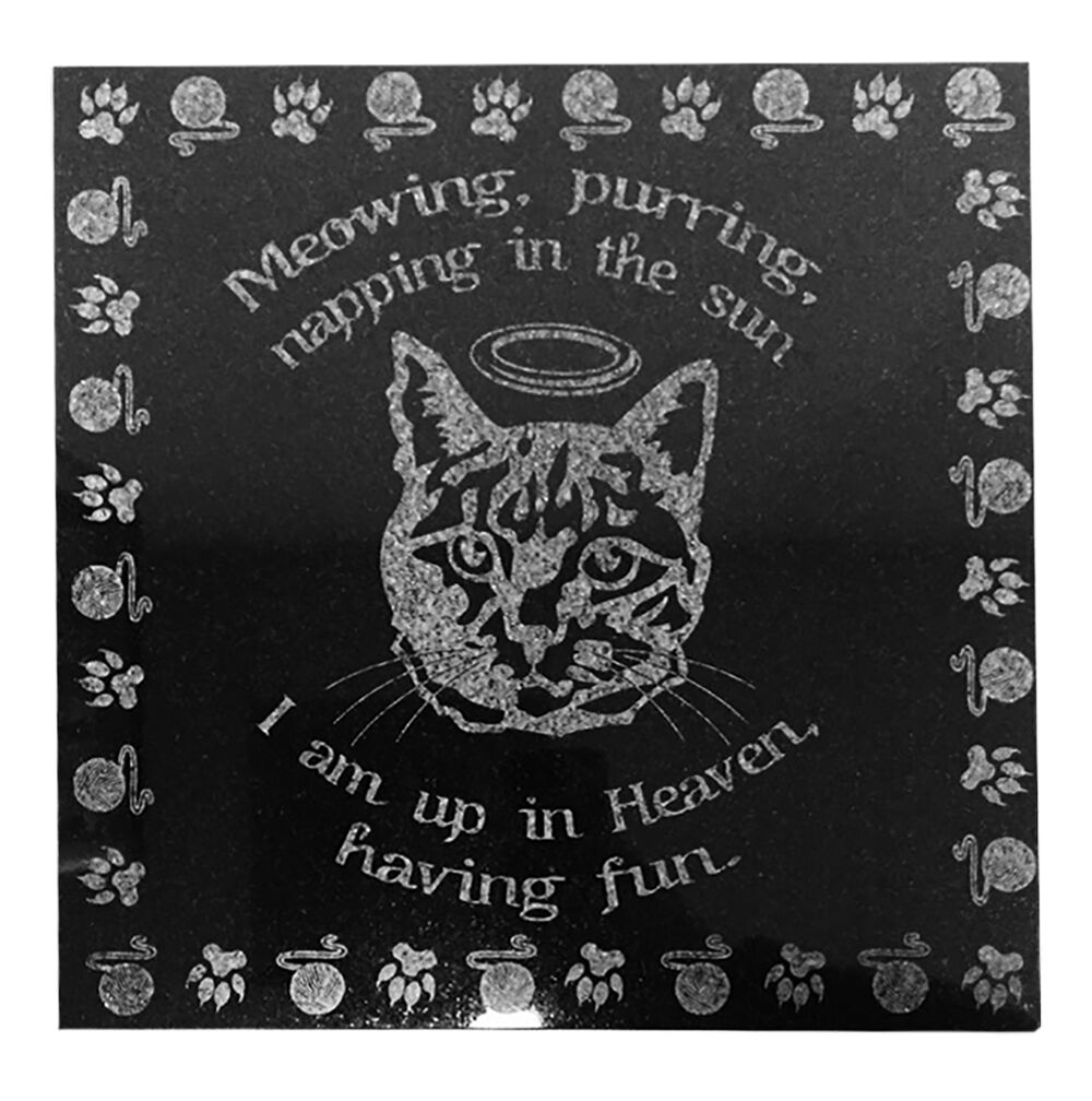 3D Laser Engraved nero Granite Pet Memorial Marker 12 x 12 inches Cat in Heaven