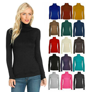 Womens Plain Roll Polo Neck Shirt Top Ladies Sleeveless Stretch Jumper Top