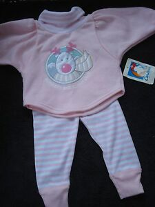 Carter's Vintage Infant Girls Two Piece Fleece Outfit New Size 12 Months