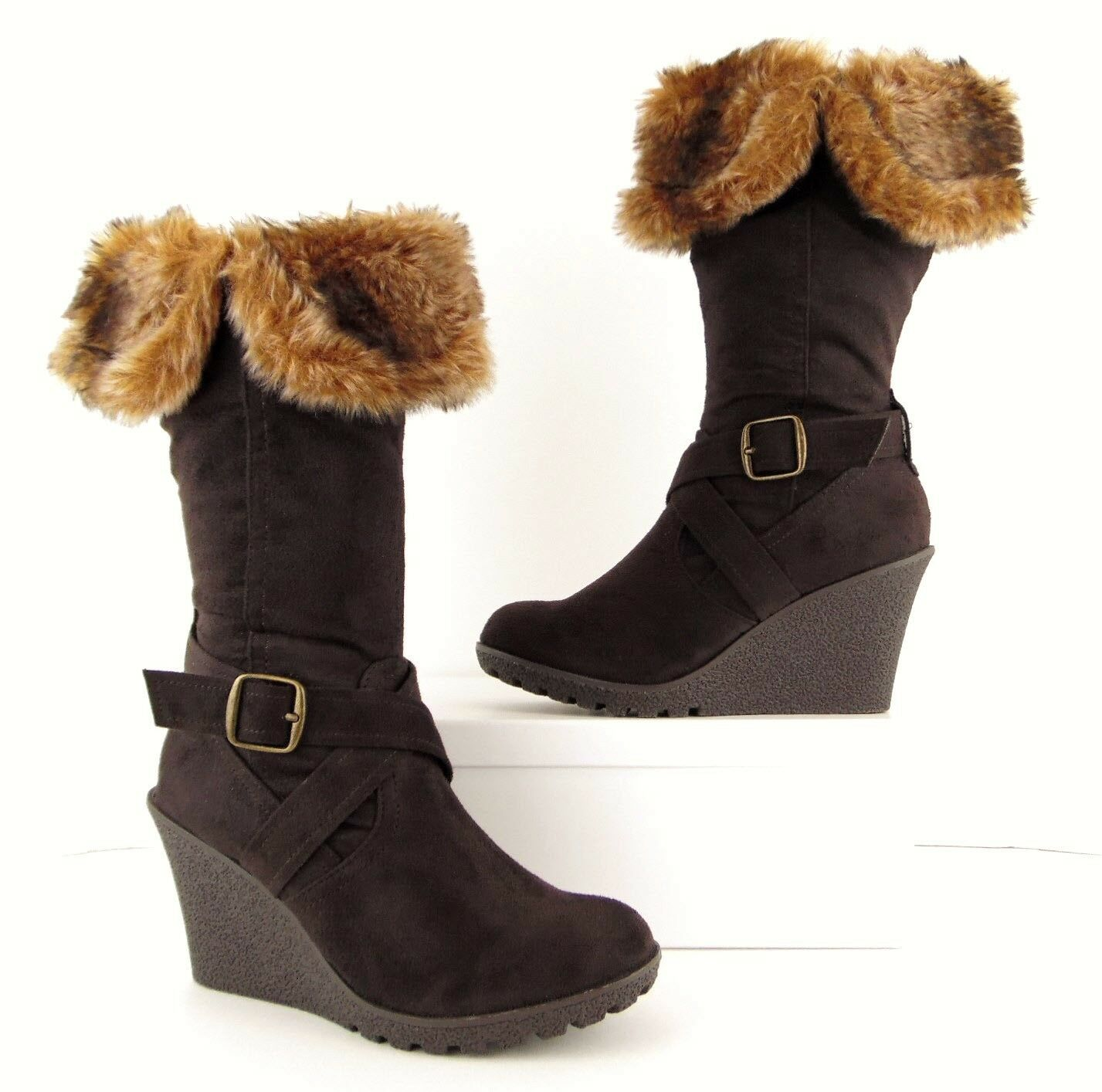NWOB XOXO Brown Faux Suede + Tan Fur Wedge Heel Boots shoes Women's 6 M (S536)