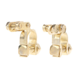 2Pcs Auto Car Replacement Battery Terminal Clamp Clips Brass Connector Hot
