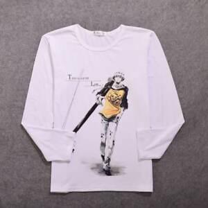 Top Anime One Piece Trafalgar Law Cotton Shirt Long Sleeve Tshirt Tee Clothing