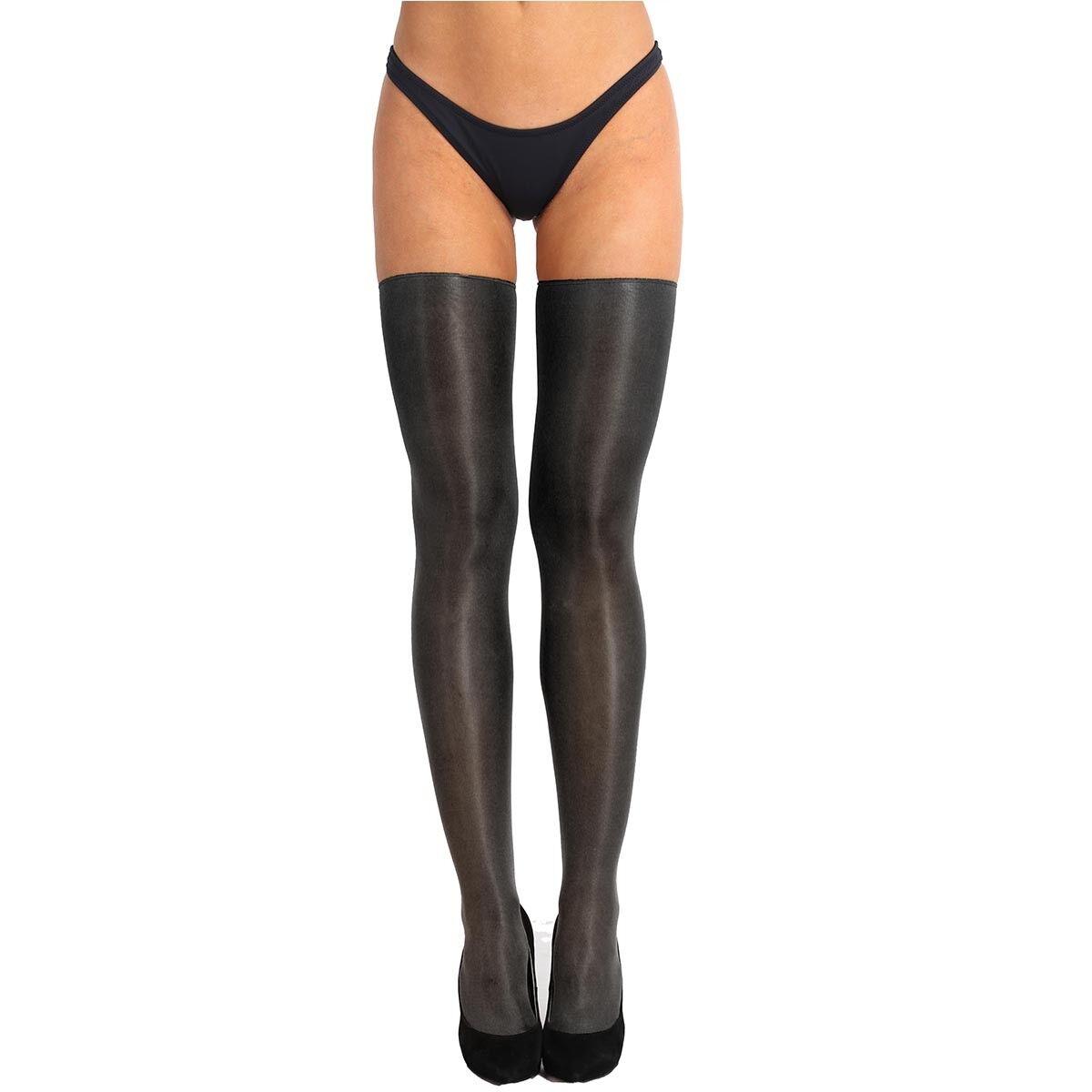 Damen Lange Strümpfe Halb-transparent glänzend Strumpfhose Stützstrümpfe Schwarz