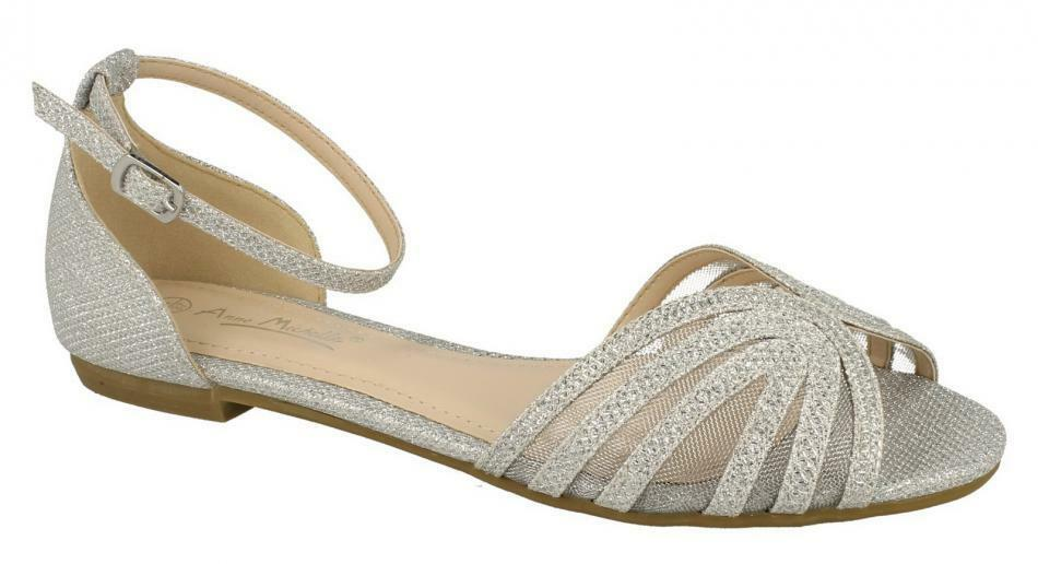 Anne Michelle Ladies Silver Synthetic Glitter Buckle  Summer Sandals F0942