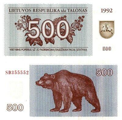 500 Talonas 1992 P-44 Lithuania UNC /> Bear EX-USSR