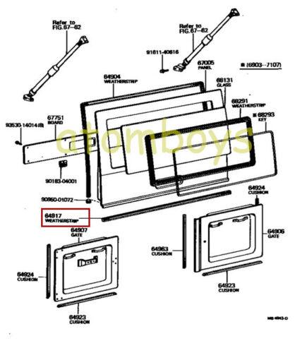 TOYOTA LAND CRUISER FJ40 FJ55 FJ45LV-A FJ45V-B VAN Weatherstrip Back Door Lower